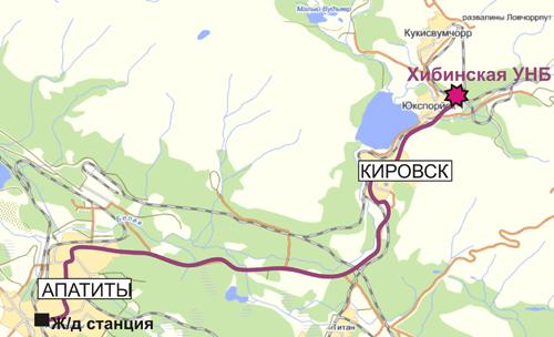 Схема проезда к Хибинской УНБ